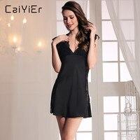 Caiyier Sexy Women Nightgown Summer 2018 Silk Slip Ribbons Halter Pink Black Nightwear Lingerie Nigh Dress Gowns LLL3880