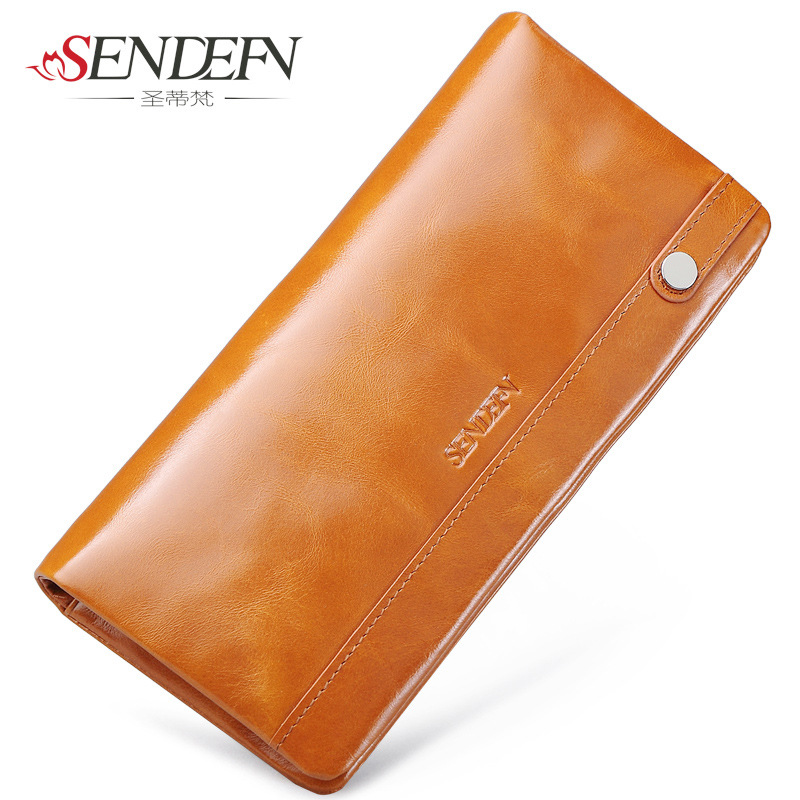 SENDEFN 100% Oil Wax Cowhide Leather Women Wallet Phone Pocket Purse Wallets Female Card Holder Lady Clutch кошелек sendefn 100% 7777