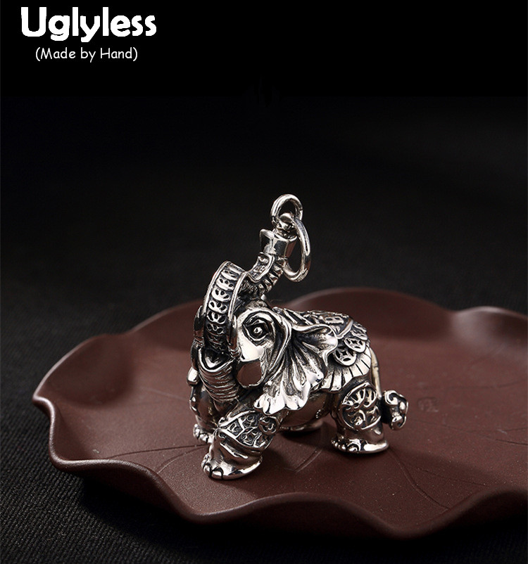 Uglyless Real 925 Sterling Silver Thai Big Size Elephant Pendant Necklace without Chain Unisex Ethnic Bijoux Retro Fine Jewelry