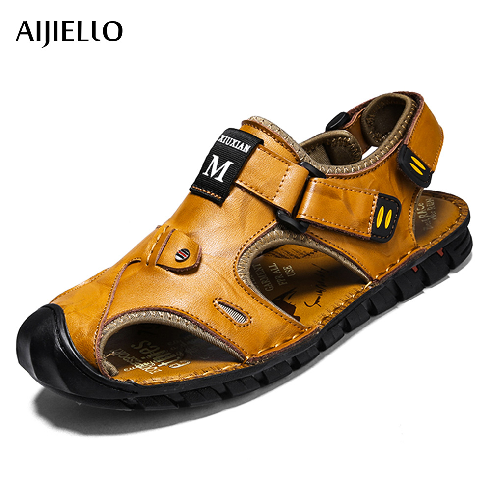 2018 Mens Sport Sandals Genuine Leather Summer Shoes New Beach Men Sport Cool Shoes Outdoor Sandals for man Size 38-44