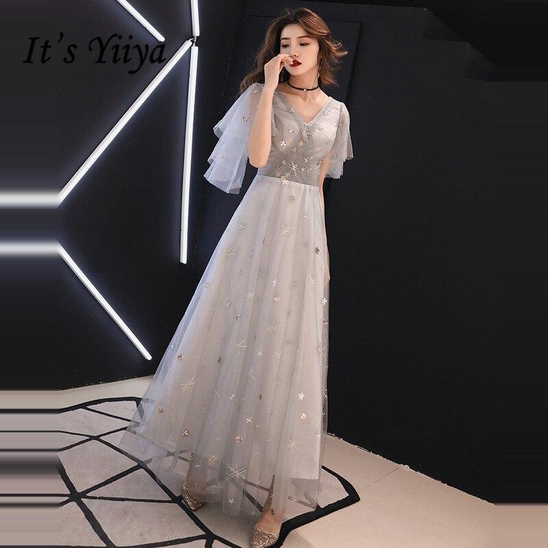 8db80ac2204b5f8 Вечернее платье It's Yiya, Длинные вечерние платья в пол с рисунком звезд,  Сексуальные вечерние платья с v-образным вырезом на молнии серого цвет.