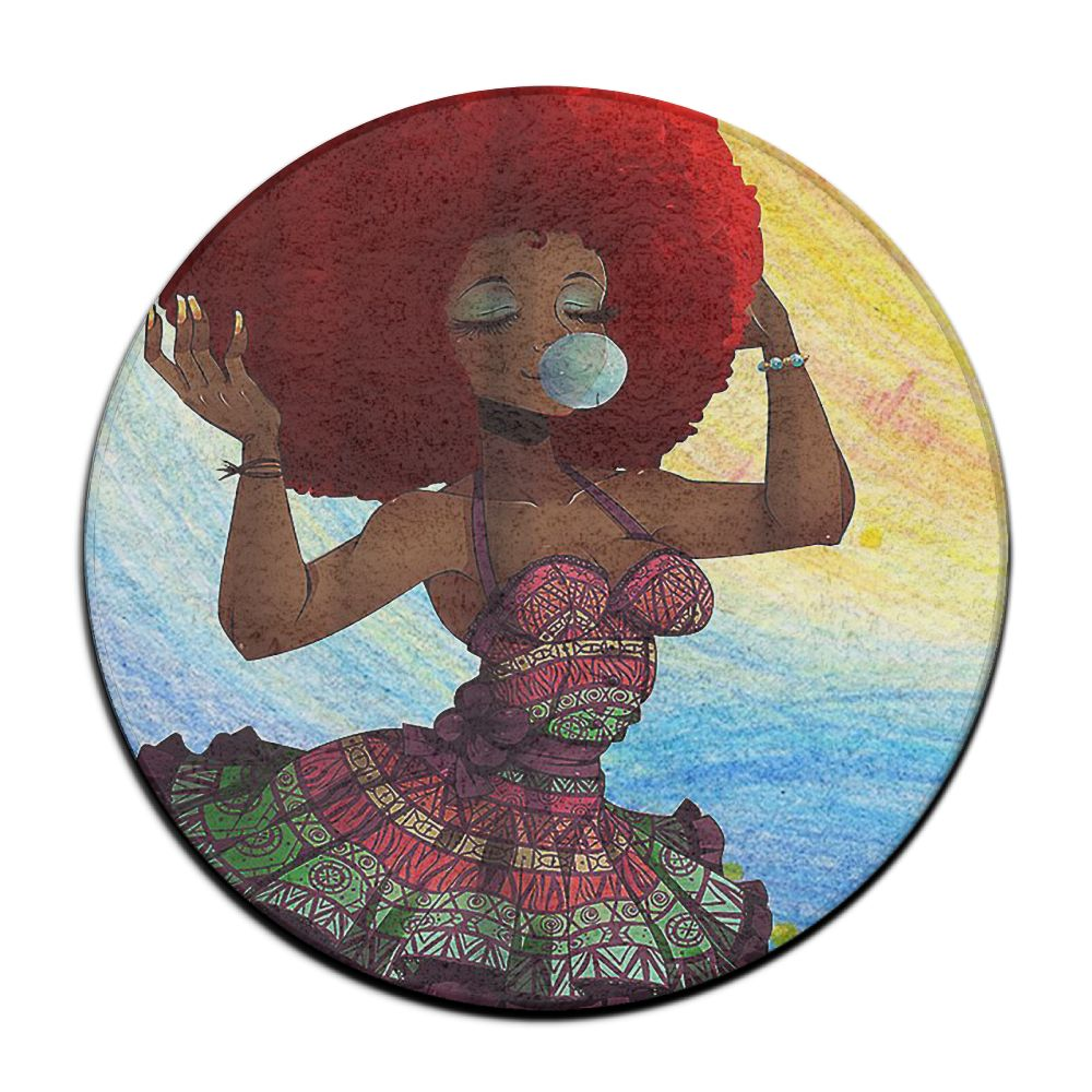 Traditional African Black Woman With Afro Hairstyle Blowing Gums Watercolor Portrait Print Flannel Fabric Non-Slip Bath Rug Mat