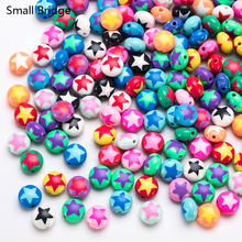 12mm Star Pattern Polymer Clay Beads  For Jewely Making Diy Bracelet sAccessories Girls Kids Handmade Round Fimo Bead Wholesale