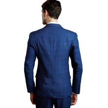 Business Suit Blazer Blue Lattice (Jacket+Vest+Pants)