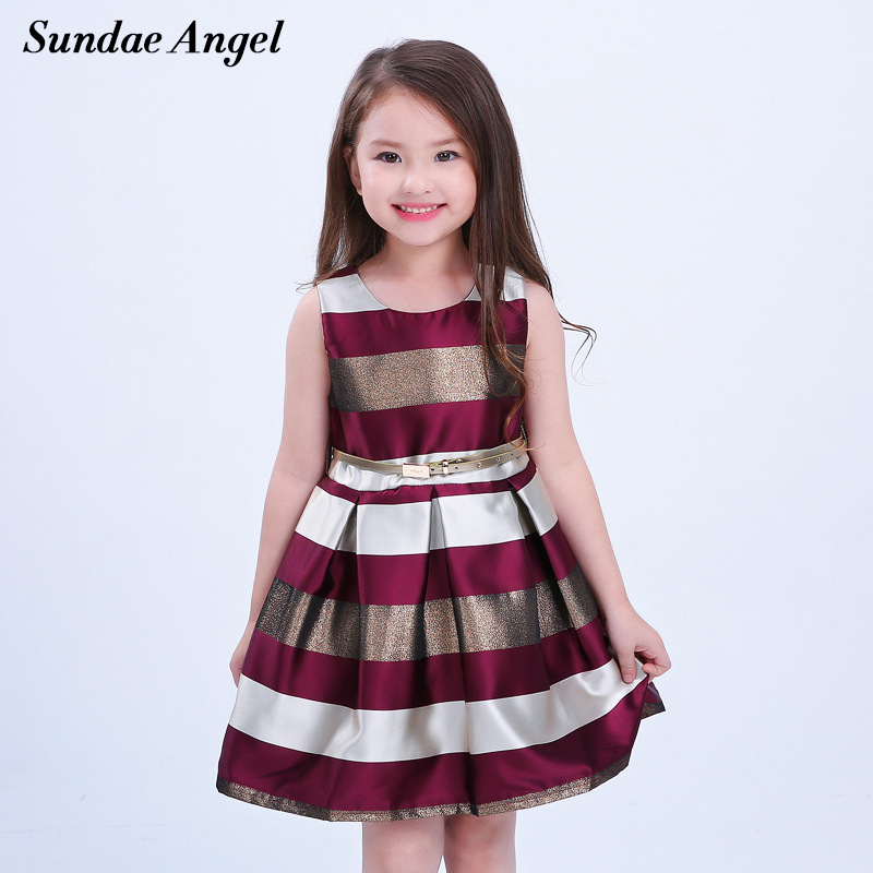 Sundae Angel Kids Baby Girl Dresses Summer Striped Cute Sleeveless A Line Grew Neck Collar Girl