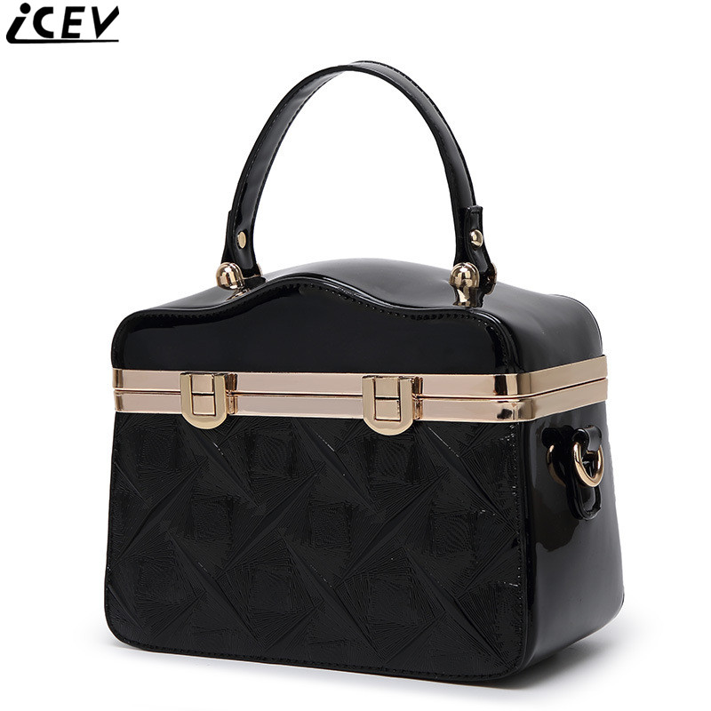 ICEV 2018 new embossed shoulder bag luxury handbags women bags designer high quality patent leather box handbag ladies messenger new fashion luxury women bags handbags women famous brands shoulder bag designer tote high quality patent leather messenger bag