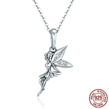 Authentic 925 Sterling Silver Flower Fairy Dangle Pendants Necklaces for Women Fine Brand Jewelry Lover Gift