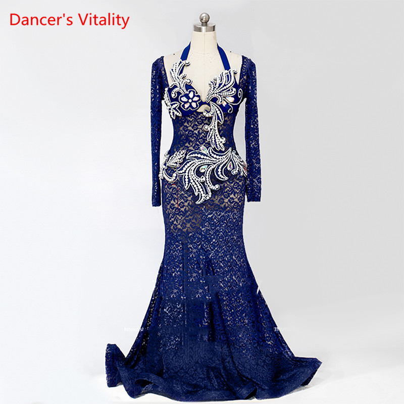 Custom Made New One Piece Lace Dress Women Stage Belly Dance Costume Performance Skirt  Free Shipping