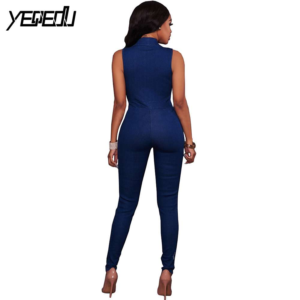 47b4fc55c4e3  1524 Summer Denim Jumpsuit Sleeveless Slim Sexy Catsuit V-neck Body Mujer  Bodies Woman Jeans Rompers Women Deep V-Neck Zipper