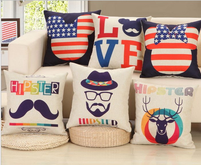 Country Flag Cushions Cover UK US Decorative Pillows Deer Bed