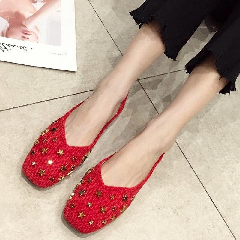 Appartements Femme sur Printemps 2019 Mode Slip rouge Chaussures Ballet Souple Profonde Noir Grandes Taille Dames Rivet De Simples Peu rose Féminines Femmes dIz0gzwq