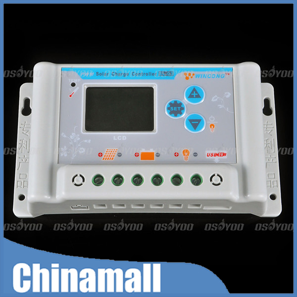 30A 12V 24V Wincong Solar Charge Controllers LCD with USB SL03-30A Solar Charge Controller Free Shipping & Drop Shipping