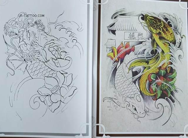 Online shop koi carp fish lotus flower tattoo flash a4 book with koi carp fish lotus flower tattoo flash a4 book with line drawing outline mightylinksfo