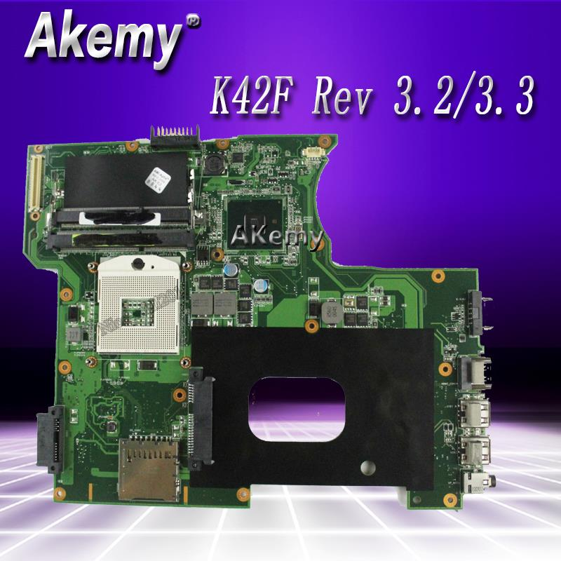 K42F Rev 3.2/3.3 GMA HD USB2.0 HM55 PGA989 Mainboard For Asus K42F  X42F A42F P42F Motherboard 100% Fully Tested