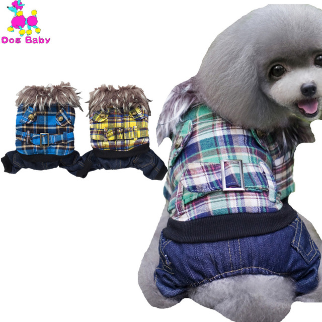 Dogbaby British Plaid Cotton Dog Coat Cool Four Legs Pets Jackets