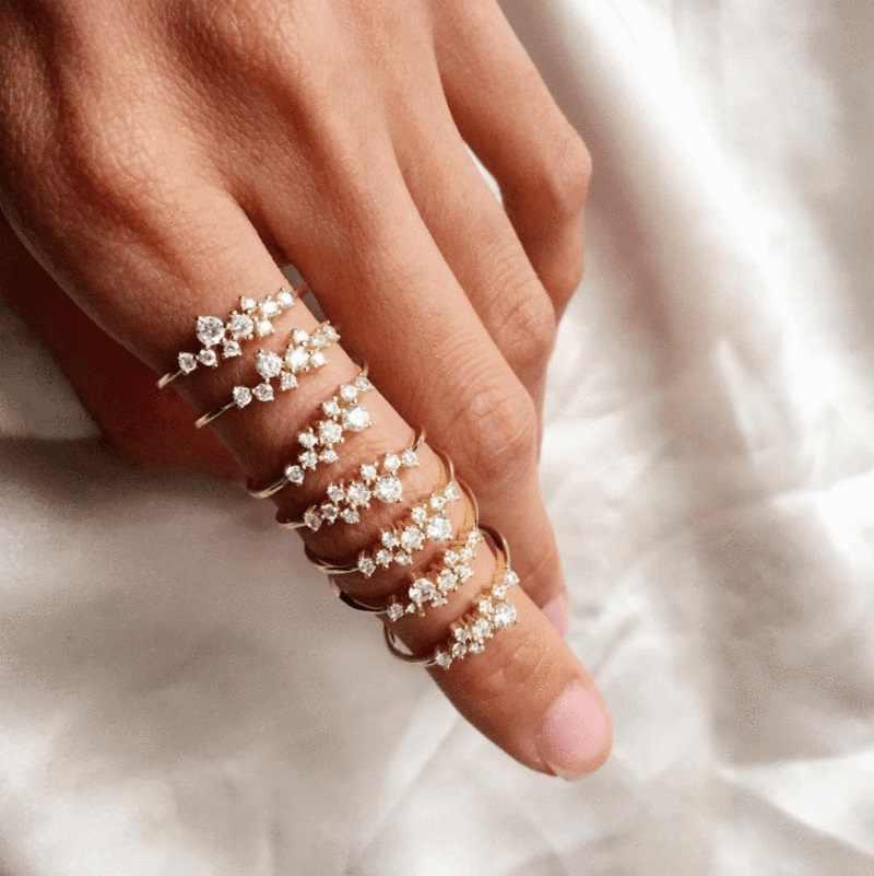 Thanh lịch quyến rũ tinh tế cz vòng tối thiểu tối giản cz cụm Phát Ra Tia Lửa bling chất lượng hàng đầu phụ nữ cô gái dễ thương đồ trang sức nhẫn