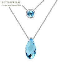 2016 new arrival crystal Water Drop pendant necklace of tow chains With charming Crystals from SWAROVSKI for woman&girl gift
