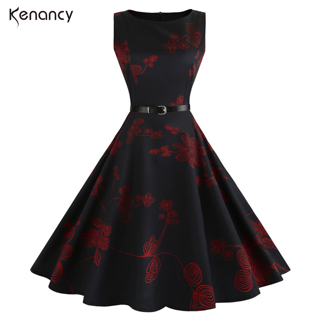 2fdd1d3e01 Kenancy Fit And Flare Vintage Dresses Women Summer Sleeveless Floral Print  Knee Length 1950s Rockabilly Party Club Tunic Dresses