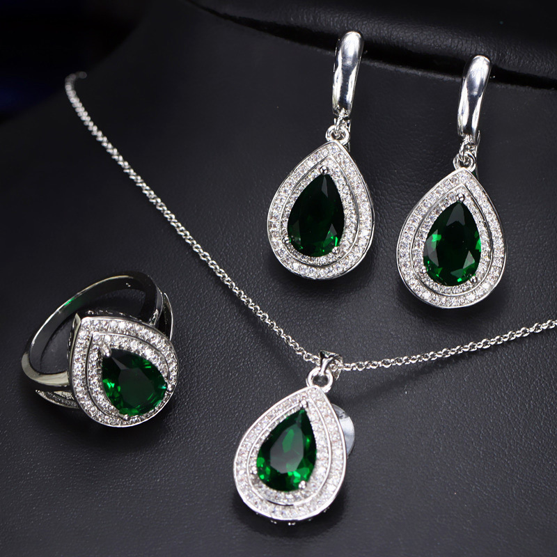 NPASON Fashion Jewelery Set High Quality Zircon Pendent Earrings Ring Women/Girls Gift Full Dress Accessories Luxury Jewelery