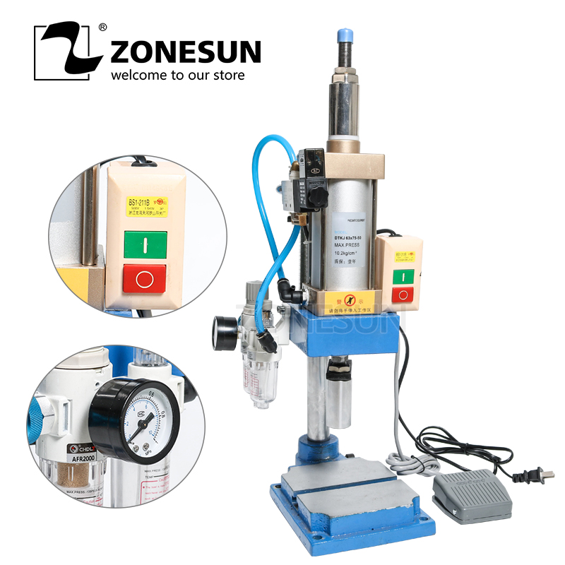 ZONESUN pnuematice press punching printing machine trademark logo letter stamps print tool cutting die emboss force adjustable