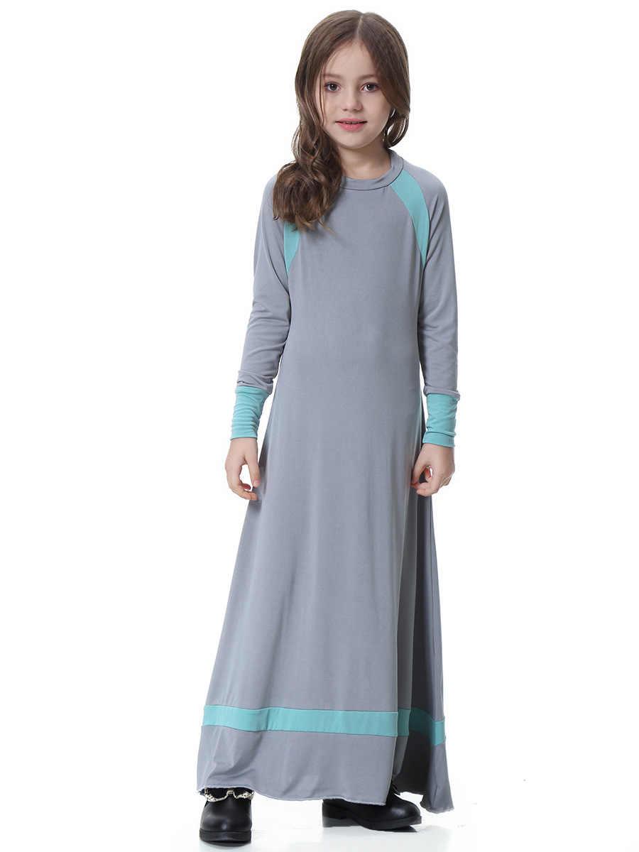 ea0841b29b4ba Traditional Muslims Islamic Arabia Dubai Saudi Malaysia Girl Long Sleeve  Long Dress Abaya Kaftan Islamic Children Dresses S-XXXL