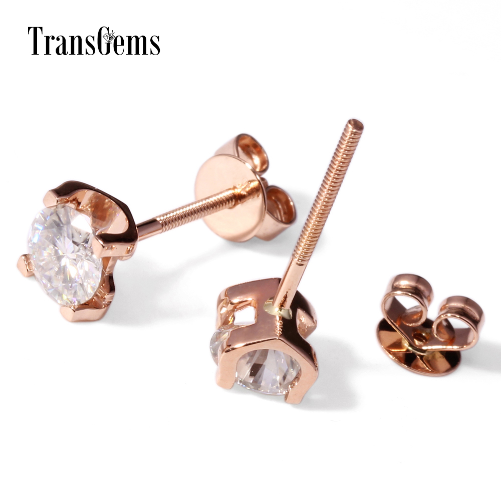 Transgems 1 Ctw Carat Lab Grown Moissanite Diamond Stud Earrings Solid  Yellow Gold Screw Backs For