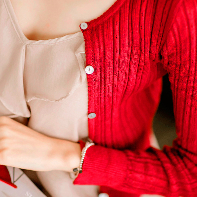 2019 Actumn & Spring Women's Korean Autumn Sweater Sexy Tight Cardigan Women Slim Waist Round Neck Short Paragraph Cardigan Coat