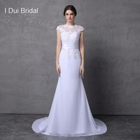 Short Sleeve Lace Appliques Mermaid Wedding Dresses With Belt Satin Chiffon Handmade Flower Boat Neck