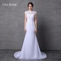 Short Sleeve Lace Appliques Mermaid Wedding Dresses With Belt Satin Chiffon Handmade Flower Boat Neck