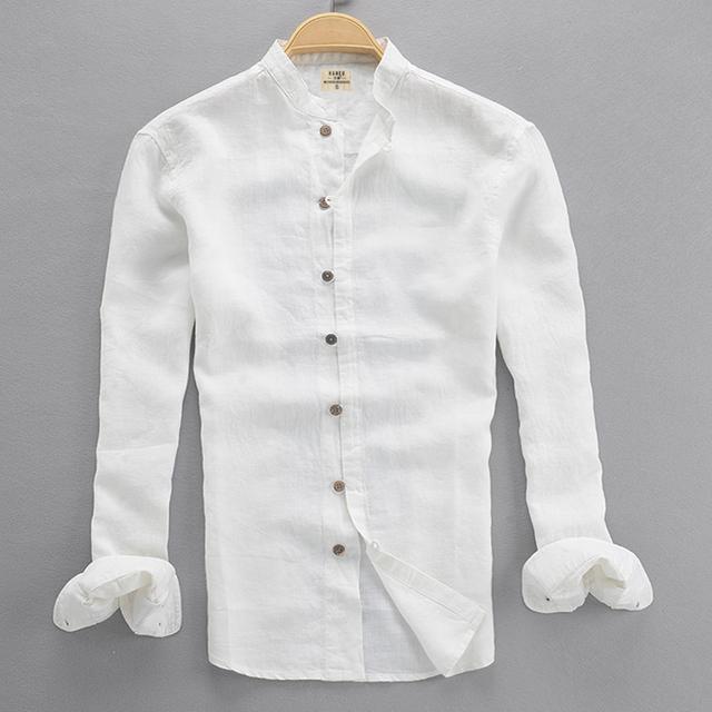 2016 primavera y otoño ropa camisa para hombre de manga larga cuello alto estilo chino botones de la placa más hombres de la camisa floja ropa