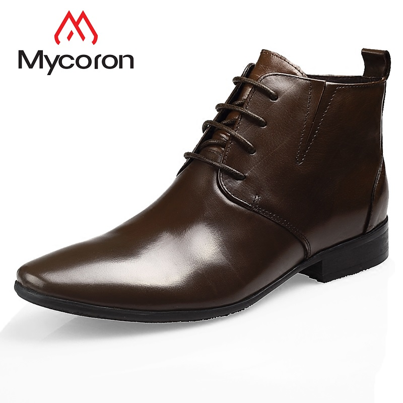 5a41cfe6fa3cfc Lacets Qualité Noir Bottes Vintage Cuir Chaussures Cheville Rangers marron  Hommes Véritable Haute Botte Militaire Mycoron ...