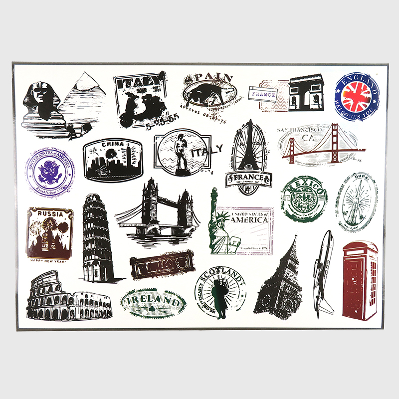 1 Pcs World Attractions Signs Stickers for Home Decor Luggage Car Styling Laptop Sticker Fridge Skateboard Toys Cool