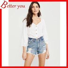 2019 new summer shorts women solid slim loose high-elastic shorts mid waist hole denim shorts недорого