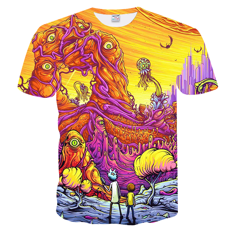 2018 Cool Rick and Morty men tshirt Summer Created-printed T-shirt Hipster Harajuku 3D Cartoon Tops Tee Shirt anime Homme