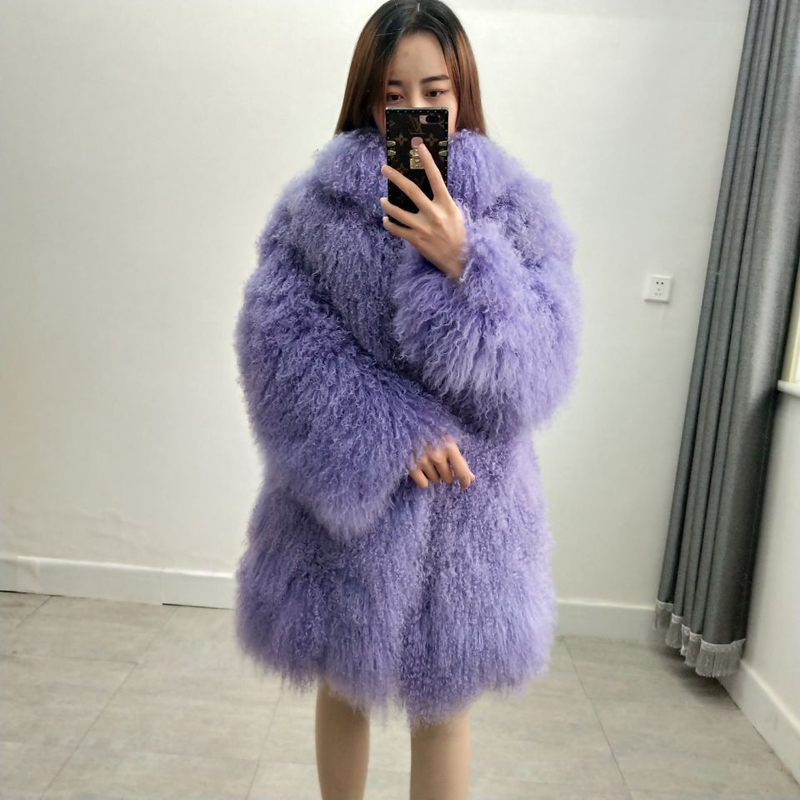 JIA MEI LI DI Real Mongolian sheep fur coat with collar beach wool coat jacket female can be customized size and color women