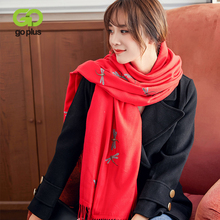 GOPLUS 2019 New Winter Embroidery Scarf Women Tassal Luxury Thick Warm Shawl Vintage Designer Soft Long Scarves Female Bandanna