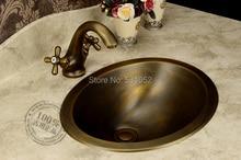 Lavabo en Bronze, lavabo à la mode, lavabo de fabrication artisanale en cuivre, vasque à contre courant en laiton, vente en gros