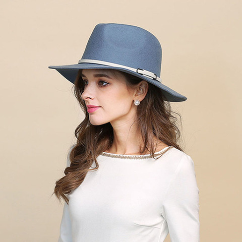 QPALCR High Quality Wool Fedoras Hat Classic Belt Wide Brim Jazz Hats For Women Men Wool Felt Hats Autumn Winter Church Caps Multan