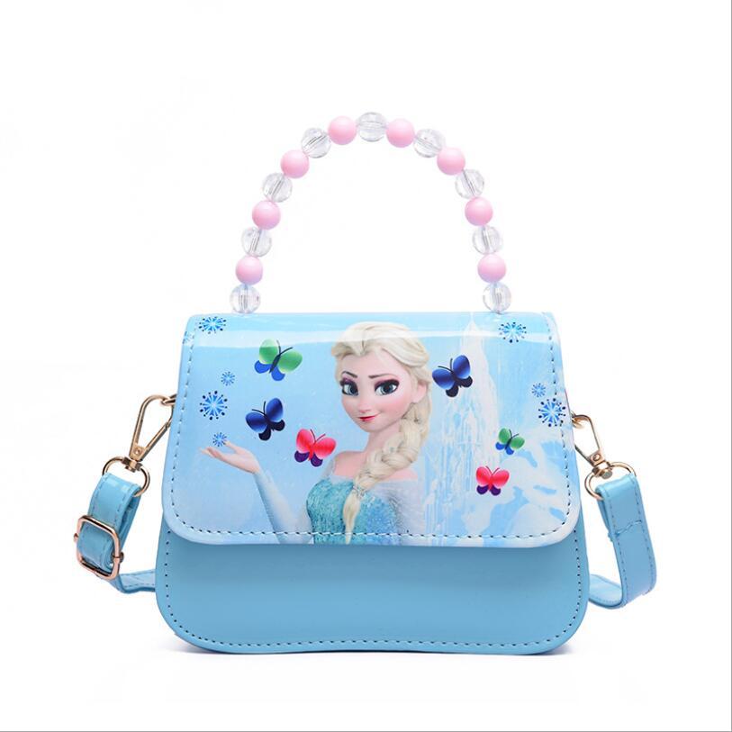 Hot Sale Cartoon Princess Pattern Print Children Handbag Lovely Kids Shoulder Bag Girls Snow Queen Shoulder Bags For Girls