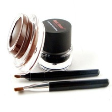 Black Brown Waterproof Eyeliner Gel Makeup Cosmetic Gel Double Color Eye Liner With Brush 24 Hours Long-lasting For Women недорого