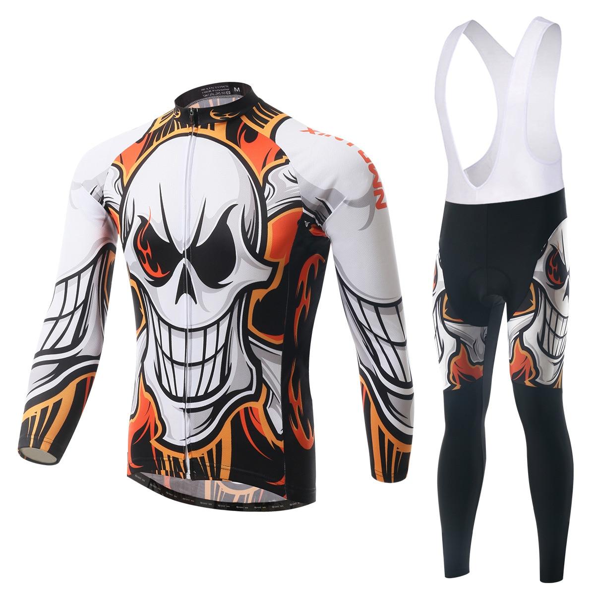 Ensemble cyclisme manches longues Jersey et bavoir pantalon 3D Pad Pro hommes Anti-sueur crâne Cool Ciclismo vélo costume Bicicleta extérieur vtt ensemble