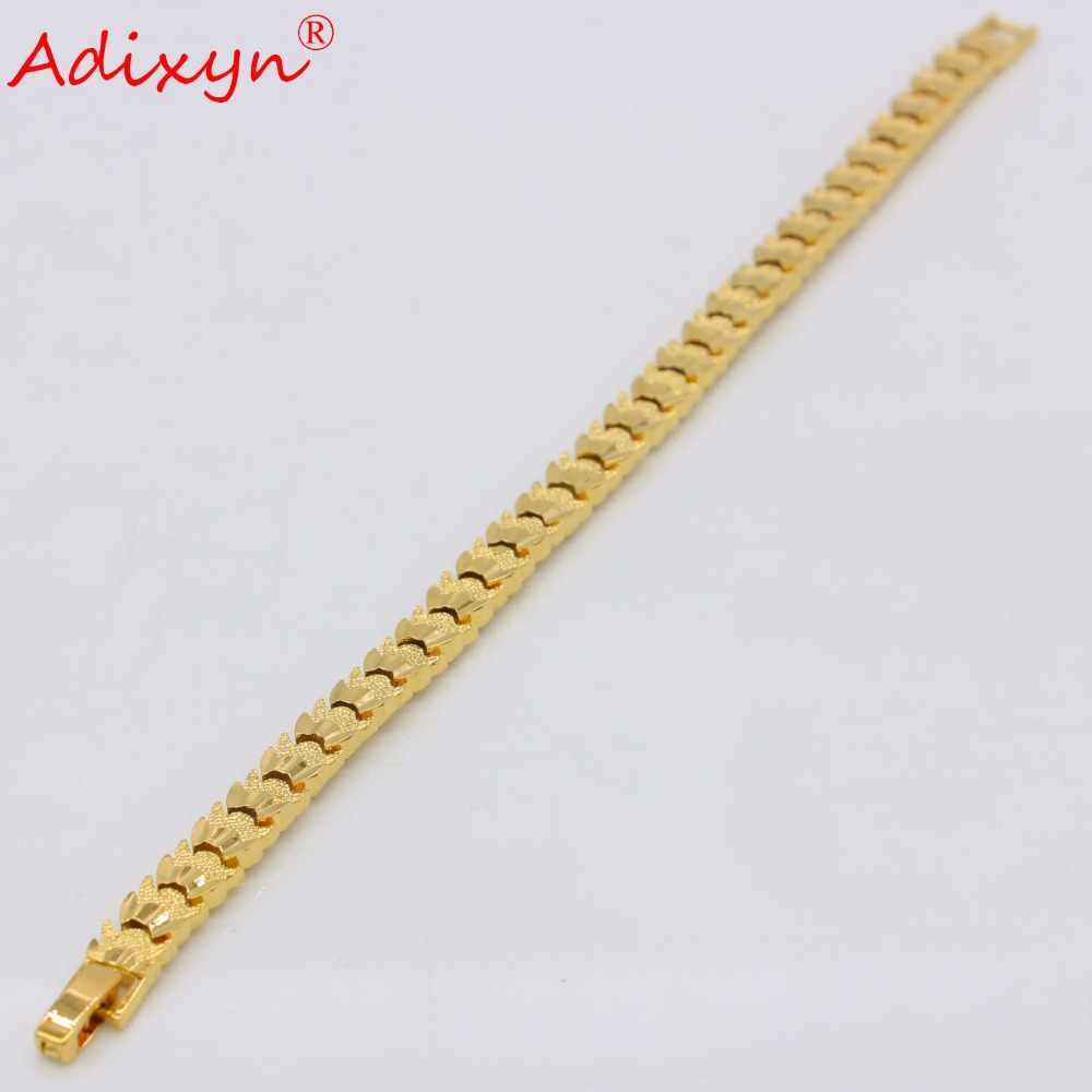 """Adixyn 21 ס""""מ גברים צמיד יד שרשרת אופנתית זהב צבע צמיד דובאי לנשים תכשיטי האתיופית אפריקה/ערבית מתנות N050711"""