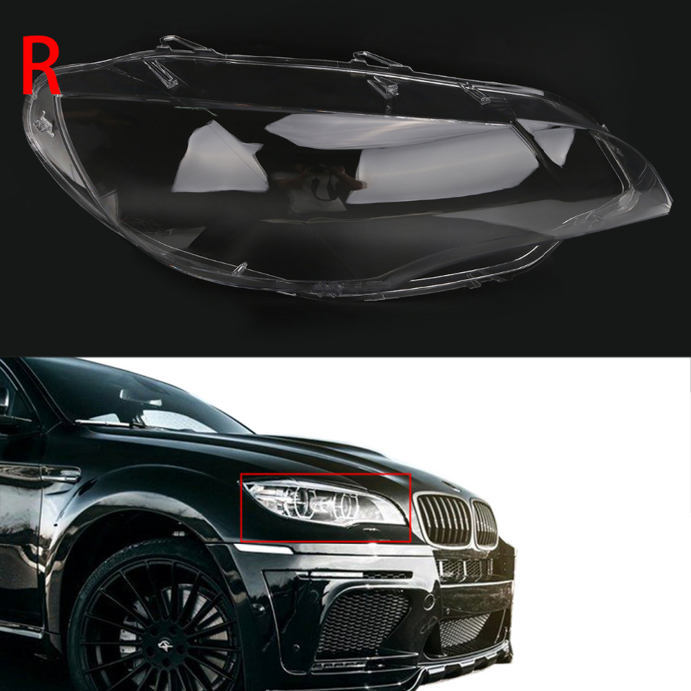 Right Car Headlight Covers Plastic Lampshade Clear Lens Lamp Assembly for BMW X5M X6 E71 M Sport / xDrive 2008 - 2014 N002-R carbon fiber car rear bumper extension lip spoiler diffuser for bmw x6 e71 e72 2008 2014 xdrive 35i 50i black frp