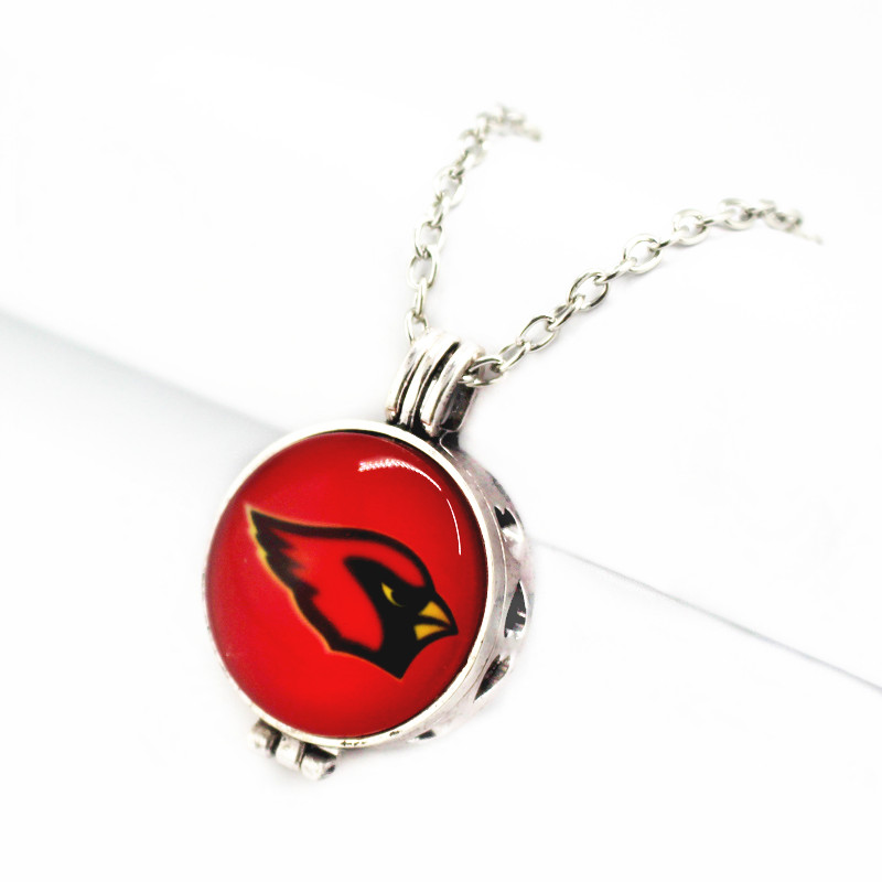 New 27mm Football Sports Team Arizona Cardinals Perfume Diffuser Lockets Pendant With 50cm Chain Necklace Jewelry For Man Woman