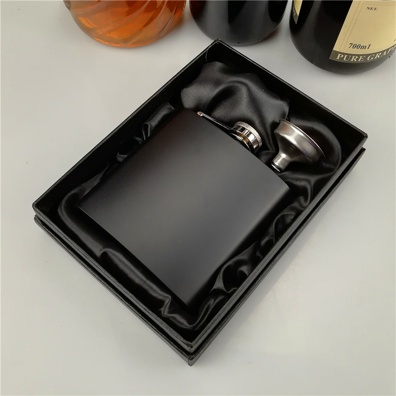 100set Colored 6 oz painted ALCOHOL stainless steel hip flask with free funnel in black gift