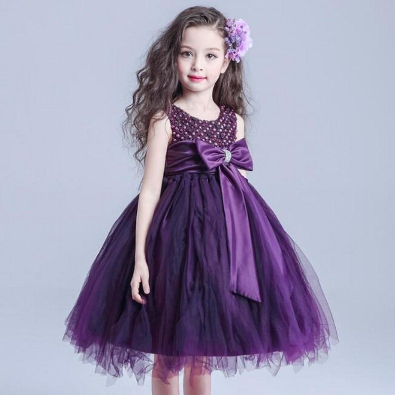 2018 Новый фиолетовый цветок девочки платья для летних свадеб дети бальное платье из бисера тюль партии девушки причастие театрализованное платье vestidos