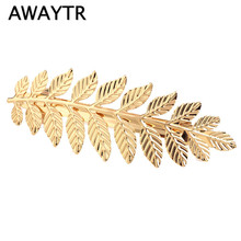 Wholesale Vintage Gold Plated Leaf Design Hairpin for  Women 2017 Girls Hairpins Hair Jewelry Accessories Leaf Hair Clip