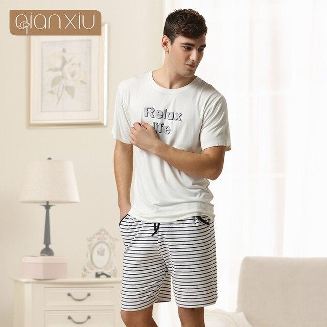 Conjunto de Pijama De Coulpe Qianxiu Caseros Modal Para Los Hombres Del  O-cuello de 5b4447401fde