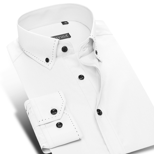 CAIZIYIJIA 2017 Men's Leisure Style Dress Shirts Long Sleeve Button-down Collar 100% Cotton Soild Classic Slim Fit Mens Clothing