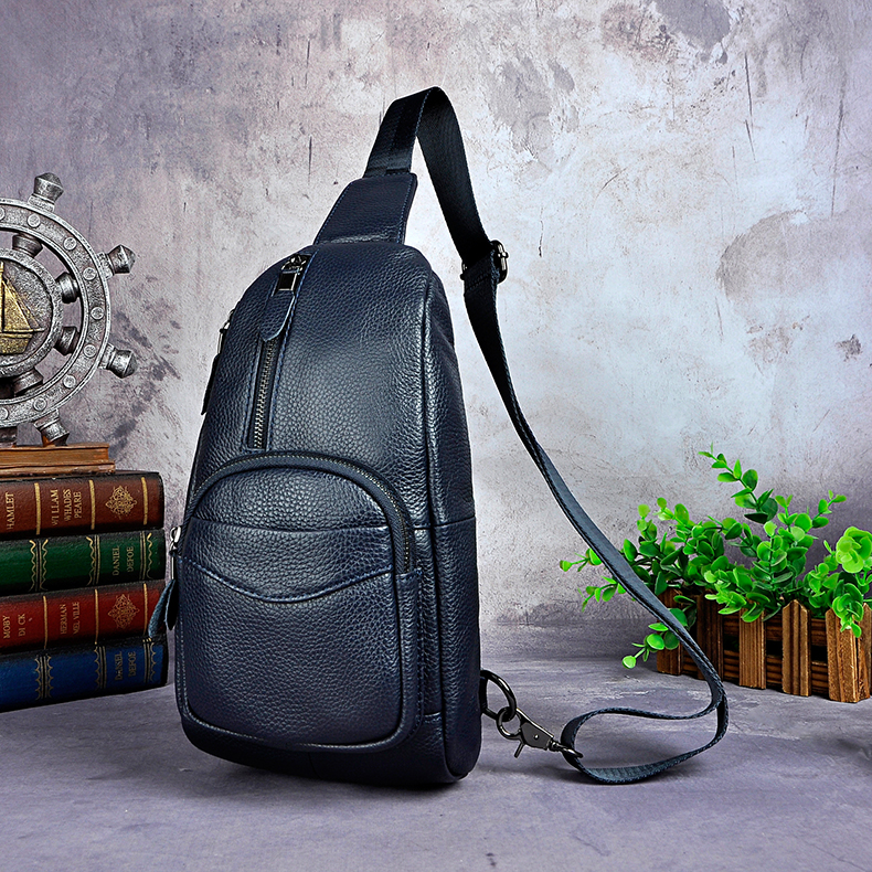 Crazy Horse Leather Men Casual Blue Travel Triangle Chest Sling Bag Design 8